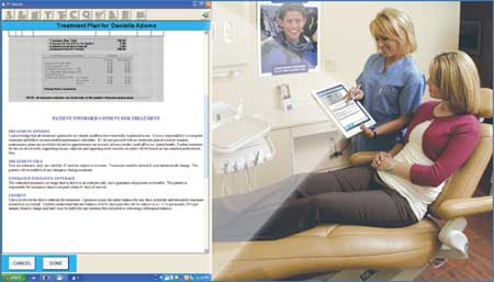 Picture of woman in dental chair signing PT forms.